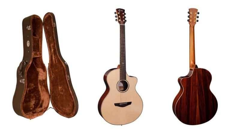 Faith Guitars HiGloss Baritone Neptune Guitar front, back, and hard case